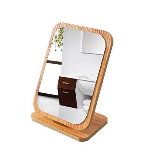 Miroir de Maquillage sur Pied,Pliant Portable en Bois Cosmétique avec Support pour Grils Femmes Hommes Chambre Table Top de Maquillage (Couleur : Wood Dark 2)