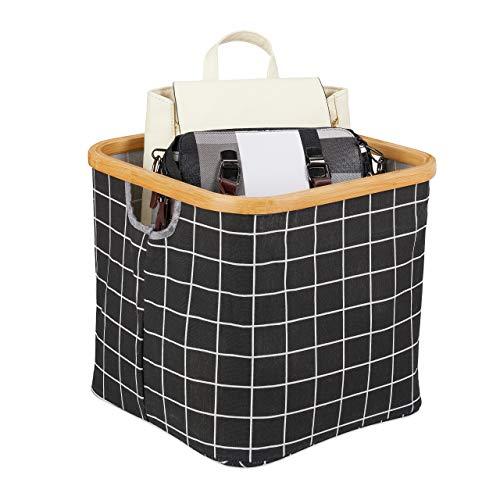 Relaxdays Caja de almacenaje, Plegable, Tela con Borde de bambú y asa, Dimensiones: 30,5 x 33,5 x 33,5 cm, Cesta para estantería, Color, Negro Verificado
