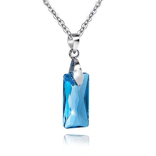 MATERIA 45 cm ankerketting met dames hanger rechthoek 925 zilver met Swarovski kristallen blauw #SWK-11