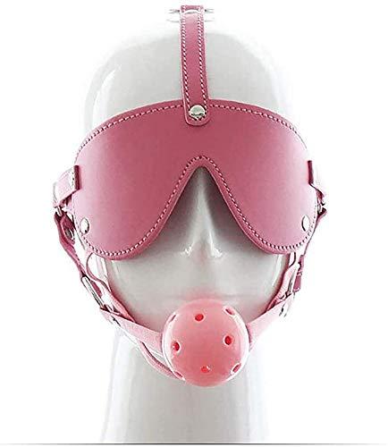 HUSHUS Hochwertiger Mundstöpsel Hohl Hartball Ledergeschirr mit Augenmaske für Anfänger