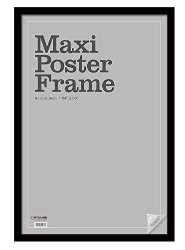 Pyramid Maxi-Bilderrahmen aus schwarzem Holz, für Bilder/Foto/Poster, Größe 61 x 91,5 cm, Sicherheits-Plexiglasur, 66 x 1.5 x 96 cm