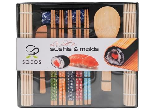 Soeos Beginner Sushi Making Kit, 10 Piece Bamboo Sushi Kit with 2 Bamboo Rolling Mats, 5 Pairs Chopsticks, Paddle, and Spreader, All Natural, Sushi Making Kit Gift Set, Sushi Maker Kit, Sushi Maker.