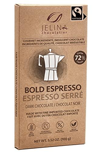 Jelina Chocolatier | 5 Pack 72% Dark Chocolate Espresso Bar | Fair Trade Chocolate Bars | Imported, Non-GMO, Natural Chocolates - 3.52oz Each