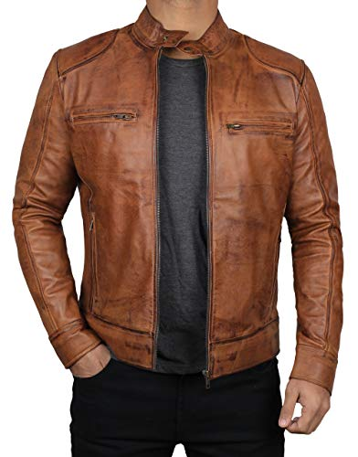 Decrum Lambskin Mens Leather Jacket Brown - Motorcycle Jacket | [1100494] Dodge Tan, L