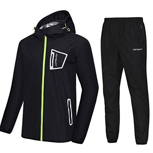 HOTSUIT Sauna Suit Men Anti Rip Boxing Sweat Suits Exercise Workout Jacket, Black, L