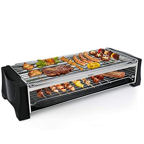 Tischgrill Elektrisch, Elektrogrill Doppelschicht, 2200W Elektro Grill Smokeless BBQ Grill für Balkon Indoor Party, Grillnetz aus Edelstahl, Schwarz