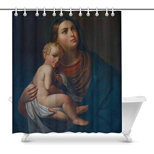 Santísima Virgen María con el Niño Jesús Impermeable Cortina de Ducha Decoración Tela Juego de baño con Ganchos