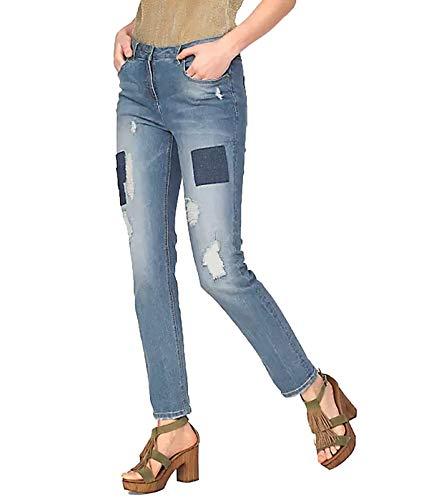 Aniston Denim-Hose Destroyed Jeans für Damen mit Aufnähern Freizeit-Hose Boyfriend-Hose Used Blau, Größe:34