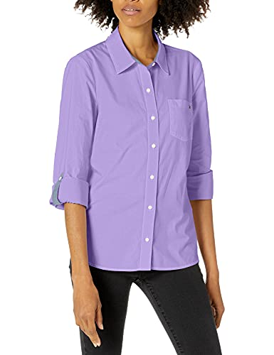 Tommy Hilfiger Women's Classic Long Sleeve Roll Tab Button Down Shirt (Standard and Plus Size), Wisteria, Large