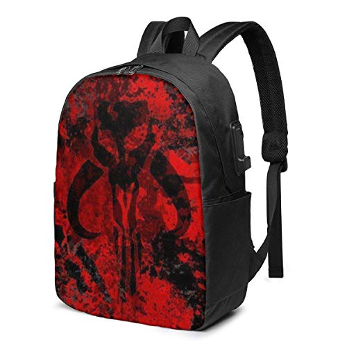 Mandalorian USB Backpack Travel Laptop Backpack Unisex Lightweight with USB Charging Port Knapsack Backpack 17 in