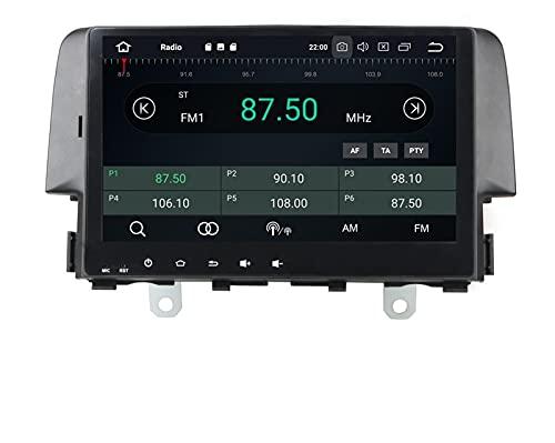 ZBHWYD Adatto per 16 Honda Civic Eight-Core 10 Pollici Android 8.0 navigatore GPS Auto Schermo Grande, autoradio Multimedia Player GPS Navigation