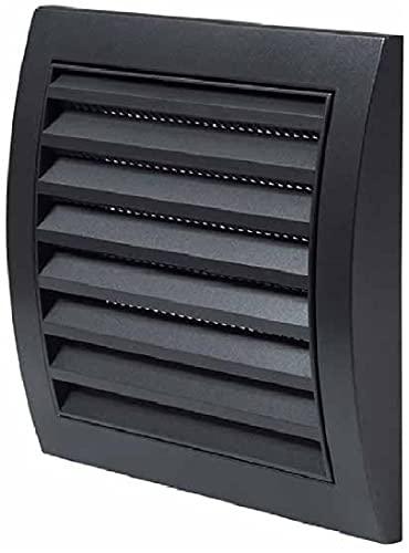 Lüftungsgitter 190 x 190 mm Anthrazit Abdeckhaube mit Insektenschutz - HVAC Kanalkappe ABS- Dunstabzugshaube Rohr Vierkant Luftzufuhrsystem Element