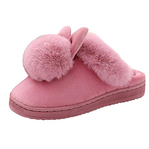 FEISI22 Women Memory Foam House Slippers Cozy Cute Bunny Animal Home Slipper Indoor Outdoor Birthday for Girls Ladies Red