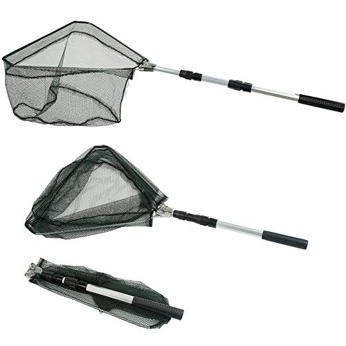 RESTCLOUD Fishing Landing Net with Telescoping Pole Handle Extends to 50 Inches (Aluminum, 50