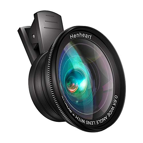 Phone Lens Attachment Cell Phone Camera and iPad Lens Kit, Henheart 0.6X Wide Angle Lens and Macro Lens