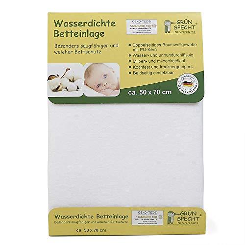 Grünspecht 163-00 Wasserdichte Betteinlage, 50 x 70 cm, weiß