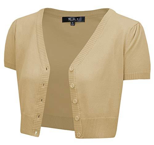 YEMAK Women's Cropped Bolero Short Sleeve Button Down Cardigan Sweater HB2137-SND-L Sand