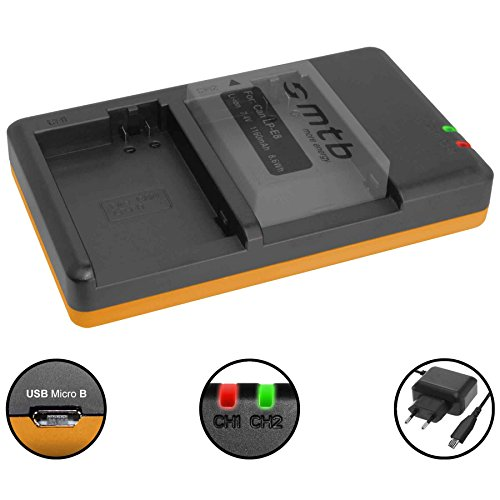 Dual-Ladegerät (Netz, USB) für Canon LP-E8 / Canon EOS 550D, 600D, 650D, 700D / Rebel T2i, T3i, T4i, T5i - inkl. 2A Netzteil (2 Akkus gleichzeitig ladbar)