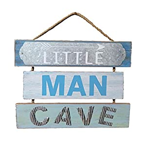 Blooming Party Nursery Wall Decor for Little Baby Boy or Toddler – Little Man Cave Wood Sign (Blue)