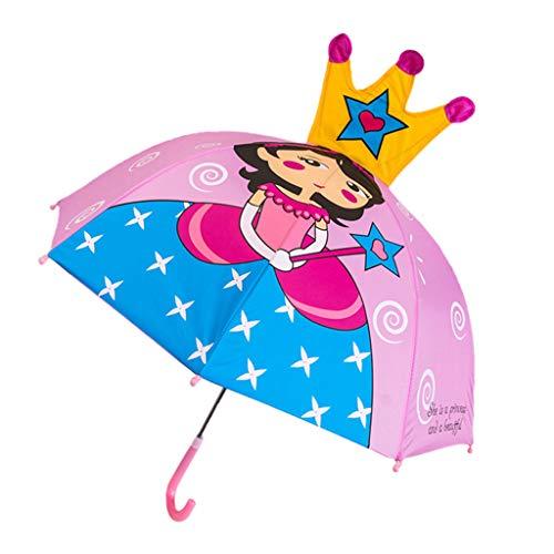 siwetg Paraguas Infantil para niñas, Dibujos Animados, con Orejas de Animales, Paraguas, diseño de Princesa, con Mango Largo, luz Segura, portátil, Paraguas 7
