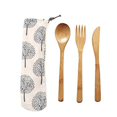 Eßbesteck aus Bambus  Bambus Besteck Set mit Tasche   Reisebesteck   umweltfreundliches Besteckset   Messer, Gabel, Löffel   Besteck Holz   natürliches Holzbesteck   20 cm