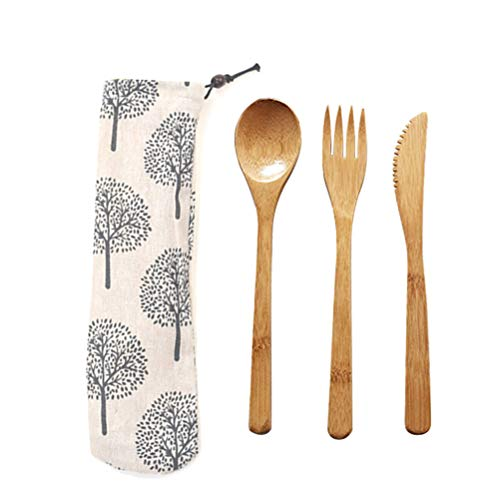 Eßbesteck aus Bambus| Bambus Besteck Set mit Tasche | Reisebesteck | umweltfreundliches Besteckset | Messer, Gabel, Löffel | Besteck Holz | natürliches Holzbesteck | 20 cm