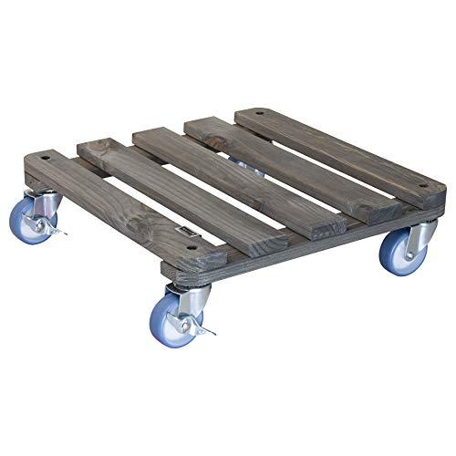WAGNER Chariot de plantes VINTAGE 40 x 40 x 12 cm | Pour l'intérieur + l'extérieur | Support roulant antidérapant, bois massif certifié FSC®, vintage| Capacité de charge 150 kg | Made in EU - 20709001