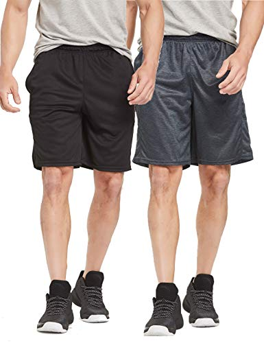 CYZ Men's Performance Running Shorts -BlackCharcoal2PK-L