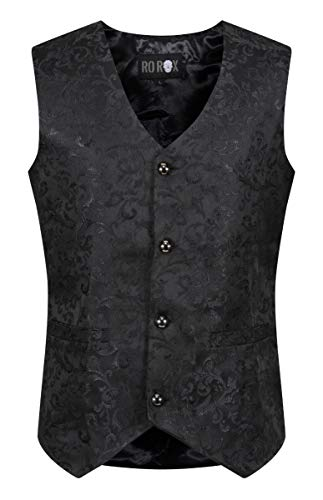 Ro Rox Chaleco Brocado Formal para Hombres de Gótico Steampunk Negro (X-Large)