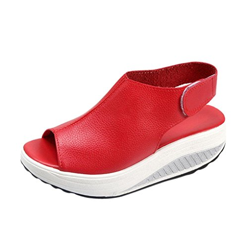 RETUROM-Sandalias Sandalias para Mujer, Verano Zapatos de tacón Alto (38, Rojo)