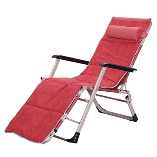 Myzdty-Pliante Textilene Chaise Fauteuil inclinable Pliant Sun Lounger Deck Chaises Fauteuil Relaxer Garden Beach Réglable Portable Rouge avec Coton Pad