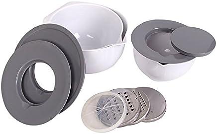 Preisvergleich für Buri Multi-Schüssel-Set mit Edelstahl Reibe Hobel Spritzschutz Deckel Rührschüssel
