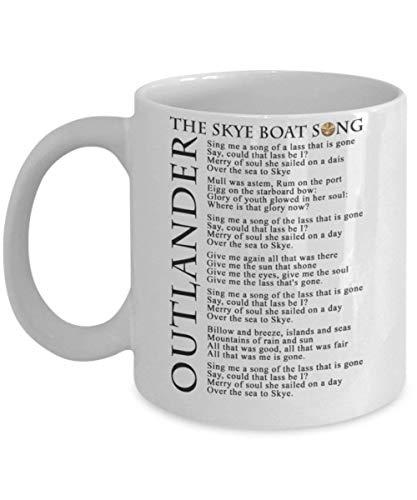 N\A utlander Skye Boat Song Taza de café (Blanca) - Outlanders Skye Boat Mug con Letra - Esta Taza de café Outlander de 11 onzas es la mercancía Outlander para Fan de Jamie Claire Sassenach