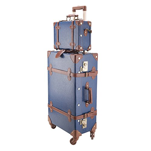 CO-Z Premium Vintage Luggage Sets 24' Trolley Suitcase and 12' Hand Bag Set with TSA Locks (12' +24' Blue)