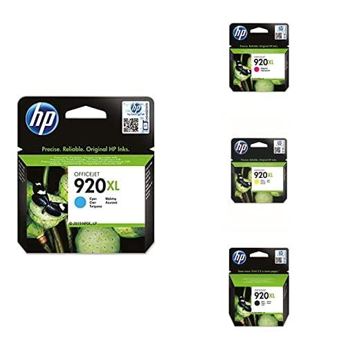 HP Cian, Cartucho de Tinta compatible con impresoras de inyección de tinta HP Officejet Series 6000, 7000 + Magenta, Cartucho de Tinta + Amarillo, Cartucho de Tinta + Negro, Cartucho de Alta Capacidad