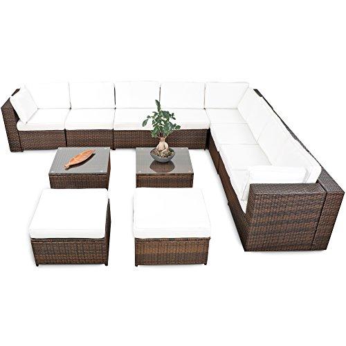 XINRO® erweiterbares 35tlg. XXXL Eck Lounge Polyrattan - braun-Mix - Gartenmöbel Sitzgruppe Garnitur Lounge Set XXXL - inkl. Lounge Sofa + Sessel + Ecke + Hocker + Tisch + Kissen