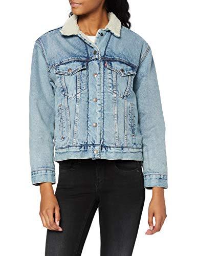 Levi's Ex-BF Sherpa Trucker Giacca in Jeans, Blu (Strangerways 0026), Small Donna