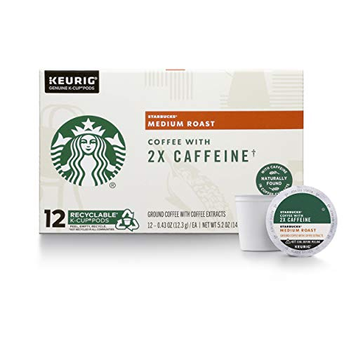 Starbucks Medium Roast K-Cup Coffee Pods with 2X Caffeine — for Keurig Brewers — 4 boxes (48 pods total)