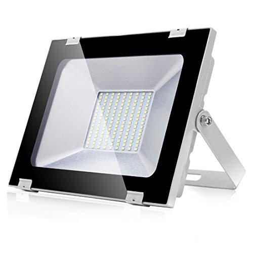 Focos LED Exteriores 100W 8000LM Proyector led exterior de impermeable IP65 6500K Blanco Frío Luz de seguridad al aire libre para Terraza Jardín Patio Parque Garaje