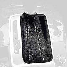RedlineGoods DSG Bota/Funda para Palanca de Cambios Compatible con Audi A6 C6 2005-11 Cuero Negro Perforado Costura Plata