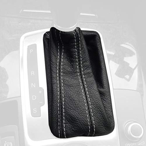 RedlineGoods DSG Bota/Funda para Palanca de Cambios Compatible con Audi Q7 2007-15 Cuero Negro Costura Negra