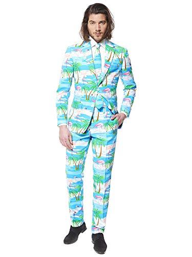 OppoSuits Herren Opposuits Crazy Prom Suits For Men – Flaminguy Anzug - Komplettes Set: Jackett, Hose und Krawatte, Blau, 52