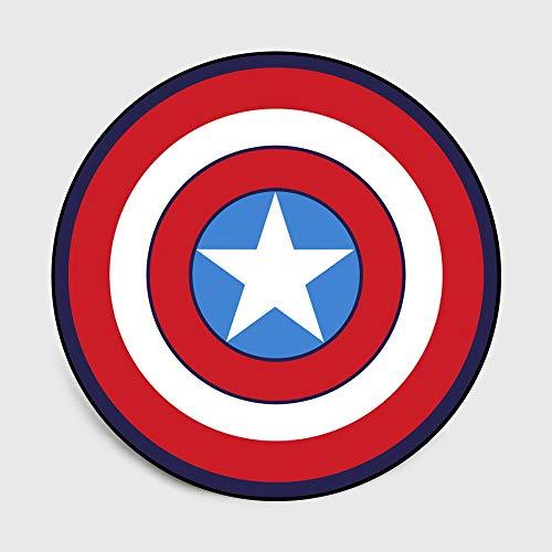 Lily&her friends - Tapis de sol rond en velours et cristal pour chambre à coucher ou salon, motif bouclier de Captain America gris, multifonctionnel (Captain America, diamètre : 100 cm)