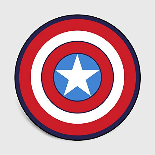 Lily&her friends – Alfombra Redonda de Terciopelo con diseño de Capitán América y Pentagrama, Capitán América, Diameter: 120cm