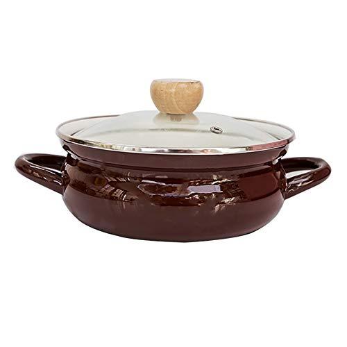 DYB Plat de Cocotte Cocotte Binaural Peu Profond Induction Casserole avec émail Robuste revêtement Art de la Table Thicken marmite à Soupe (Color : C)