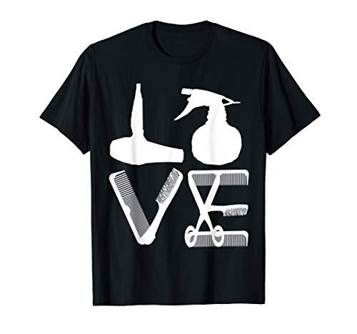 Peluquero Love Secador De Pelo Tijeras Barbero Pelo Camiseta