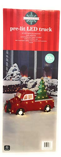 Pre-Lit LED Red Vintage Pickup Truck with Christmas Tree Decoration