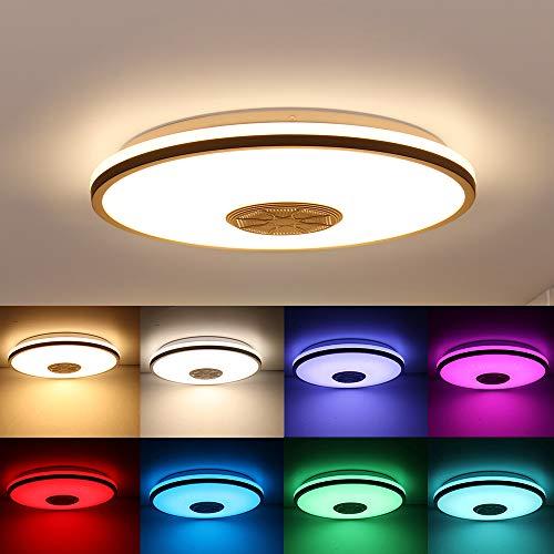 Smart Music LED Deckenleuchten APP Control Bluetooth LED Deckenleuchte mit Bluetooth Lautsprecher 36W Helligkeit Dimmbar und Farbwechsel Deckenleuchten für Küche Bad Esszimmer