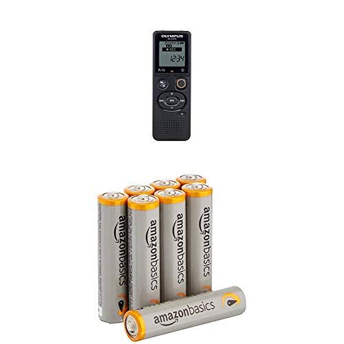 Olympus VN-541PC Aufnahmegerät (4 GB Speicher, USB-Anschluss, inkl. Batterien) mit Amazon Basics Batterien