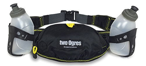 two Ogres Running Hydration Belt with Two 10oz BPA Free Leak Proof Bottles, Pouch Fits Oversized Phones (iPhone 6/6s Plus, Samsung Galaxy S6 Edge+)